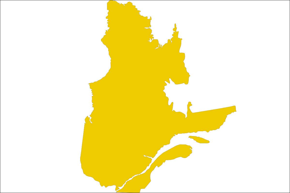 Map of the province of Quebec