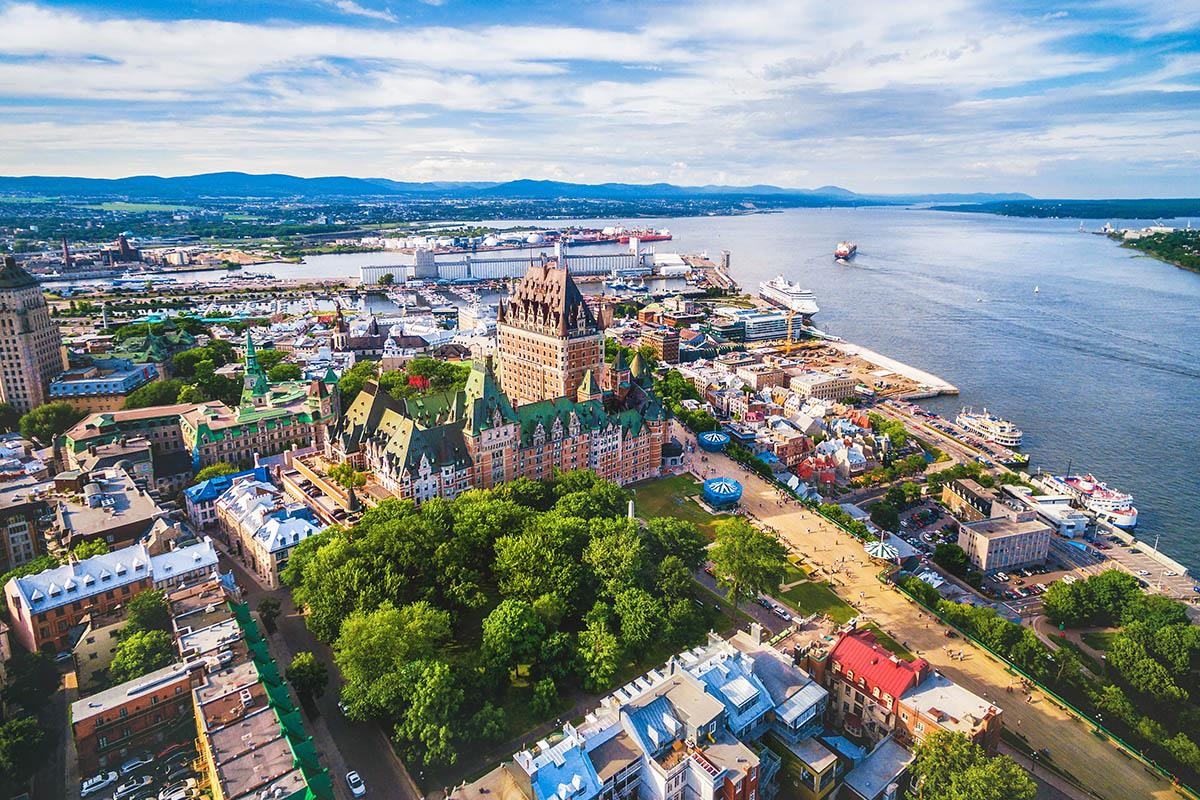 Aerial view of Quebec City and the Château Frontenac