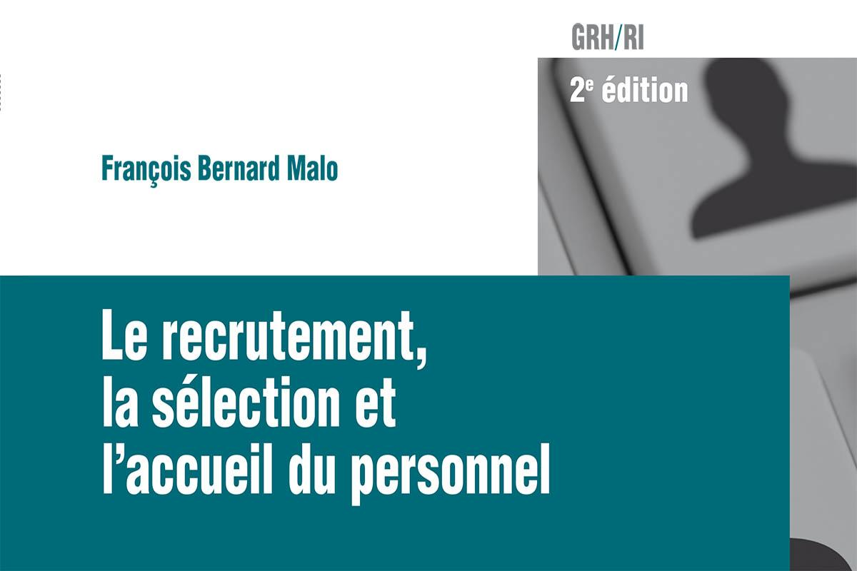 "Cover of the book ""Le recrutement, la sélection et l'accueil du personnel"", by François Bernard Malo"