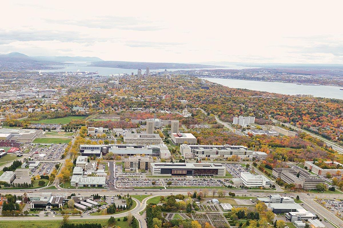 Aerial view of Université Laval campus, in Quebec City.